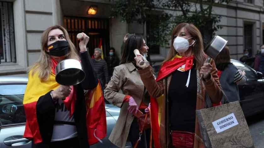 betoging cayetanos tegen Spaanse regering